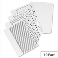 Concord 1-10 Unpunched Index A4 White – 10 Pack, Pre-Printed, Professional, Visible, Works With Slide, Wire and Comb Binders & Suitable For Non-Standard Binders (75201)
