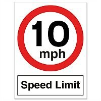 Stewart Superior Speed Limit Sign 10MPH for Outdoor Use Polypropylene W450xH600mm