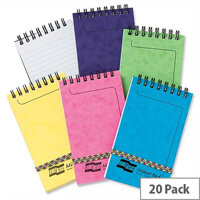 Europa 127x76mm Minor Ruled Notepad Wirebound Elasticated 120 Pages Assorted C Pack 20