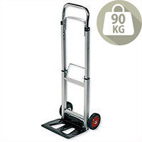 Lightweight Sack Trolley Telescopic RelX - Made From Lightweight Aluminium & Has Load Capacity Of 90KG. Folding Footplate & Extendable Handle For Easy Storage & Efficient Space Saving. Ideal For Use In Warehouses, Businesses, Homes & More.