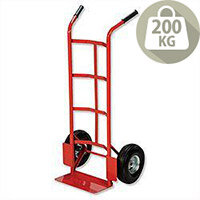 Hand Trolley Heavy-Duty Capacity 200kg Red Pneumatic Wheels Relx - Red In Colour, Black Handle Grips For Easier Use, Footplate For Easier Loading & Concave Frame. Ideal For Warehouses, Businesses, Homes & More.
