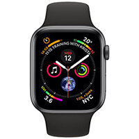Apple Watch Series 4 (GPS + Cellular) - space grey aluminium - smart watch with sport band - black - 16 GB