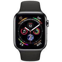 Apple Watch Series 4 (GPS + Cellular) - space black stainless steel - smart watch with sport band - black - 16 GB