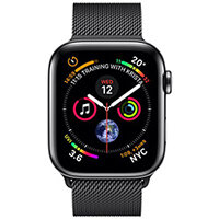 Apple Watch Series 4 (GPS + Cellular) - space black stainless steel - smart watch with milanese loop - space black - 16 GB
