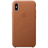 Apple - Leather back cover for mobile phone iPhone XS Saddle Brown