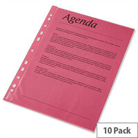 A4 Red Punched Pockets 55 Micron Pack 10 - Esselte