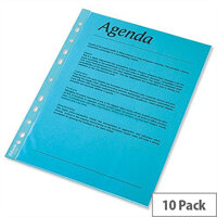 Esselte A4 Blue Punched Pockets 55 Micron Pack 10