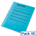 Esselte A4 Blue Punched Pockets Pack 10