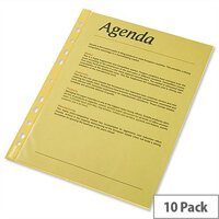 Esselte A4 Yellow Punched Pockets 55 Micron Pack 10 x 10 (100 Pockets)