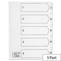 1-5 Part Index Clear Tabs A4 White 5 Star