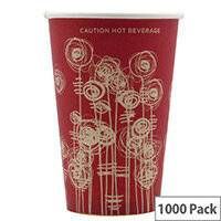 4Aces 9oz/270ml Swirl Vending Single Wall Disposable Paper Cups for Hot Drinks (Pack of 1000) Red Gold