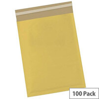 5 Star Office Bubble Lined Bags Size 2 Gold 205x245mm Pack of 100