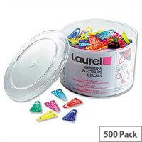 Plastic Paper Clips 25mm Assorted Colours Pack 500 Laurel