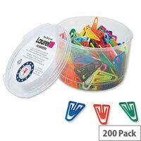 Plastic Paper Clips 35mm Assorted Colours Pack 200 Laurel