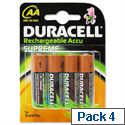 Duracell Stay Charged AA Rechargeable Batteries NiMH 1300 mAh Pack 4