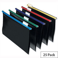 Snopake A4 Suspension Files Plastic Assorted with Tabs Pack 25
