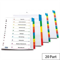 Elba A-Z Index A4 White Mylar-Reinforced Europunched Coloured Mylar Tabs