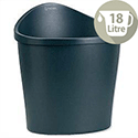 Rexel Agenda 2 Waste Desk Bin Elliptical with Handle on Rear 18 Litres D292xH362mm Charcoal Ref 2101034 514281