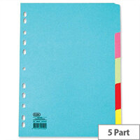 Elba Card Dividers Europunched 5-Part A4 Assorted 400007241