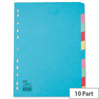 Elba Extra Wide A4 File Dividers Assorted Colours 100080807