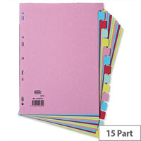 Elba Card Dividers Europunched 15-Part A4 Assorted 400007437