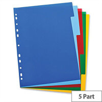 Elba Polypropylene Dividers Euro-Punched A4 5 Part Multicoloured – Pre-Printed, Highly Visible, Write-On, Colour-Coded, Suits All File Mechanisms & Long Lifespan (100205075)