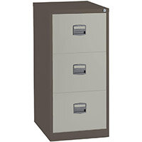 3 Drawer Steel Filing Cabinet Lockable Brown & Cream Trexus By Bisley