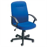 Managers Office Chair With Arms Blue High Back Trexus