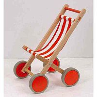 Child Toy Buggy – Dolls Pram, Beech Frame, Linen, Wooden Wheels, Rubber Tyres, 56cm Height & Ideal For Younger Children