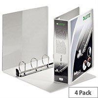 Leitz Softclick Presentation Ring Binder A4 White 50mm Capacity PVC 4 D-Ring 42040001 Pack 4