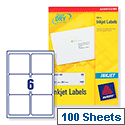 Avery Quickdry Inkjet Label 6 Per Sheet (Pack of 100)