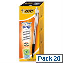 Bic Cristal Grip Ballpoint Pen Black Pack 20
