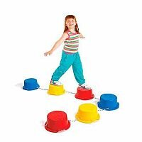 Step-A-Stones 6 Sturdy Plastic Stones, Rope, Pimpled Platform, Prevent Slipping, Improves Balance & Suitable For Children