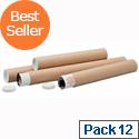Brown Kraft 450x76mm Cardboard Postal Tubes (12 Pack)
