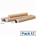 Brown Kraft 610x76mm Cardboard Postal Tubes (12 Pack)