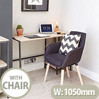 Home Office Bundle -Industrial Style Home Office Bench Desk in Charter Oak & Modern Designed 4 Legged Graphite Chair
