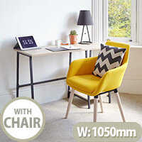 Home Office Bundle - Industrial Style Home Office Bench Desk in Charter Oak & Modern Designed 4 Yellow Legged Chair
