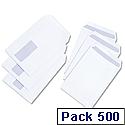 White Box C5 Window Envelopes Pocket Press Seal 100gsm White Pack 500