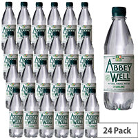 Abbey Well Natural Sparkling Mineral Water Bottled Plastic 500ml Pack 24