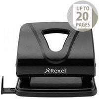 Rexel Ecodesk Punch 2-Hole Metal Long-handled Capacity 20x 80gsm Black Ref 2102616