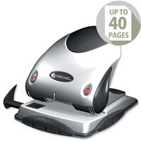 Rexel P240 2 Hole Punch Heavy Duty Silver and Black with Nameplate 40 Sheets