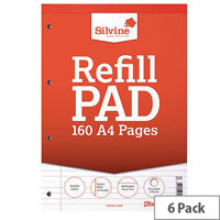 Silvine A4 Refill Pad Headbound Perforated Punched 160 Pages Pack 6