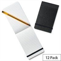 Silvine 82mm x 127mm Pocket Notebook Pack Of 12 With Elasticated Closure For Security. Stylish & Compact With Stiff Black Covers. Ideal For Note-Taking On The Go.