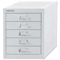 Bisley Multi-Drawer Cabinet 12 inches 5 Drawer Non-Locking Chalk White 12/5