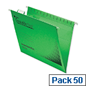 Rexel Crystalfile Flexifile Foolscap Suspension File Green Pack 50