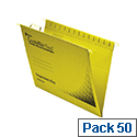 Rexel Crystalfile Flexifile Foolscap Suspension File Yellow Pack 50