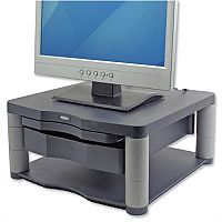"""Fellowes Monitor Riser – 21"""", Max Weight Capacity 36kg, Graphite, 5 Adjustable Height Positions, Extra 51mm Storage, FIRA Approval & 100% Recycled Plastic (9169501)"""