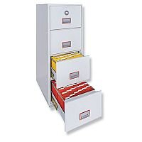 Fire Proof Filing Cabinet 90 Minutes Protection 4 Lockable Drawers 266Kg Phoenix Firefile