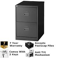 2 Drawer Steel Filing Cabinet Lockable Black Trexus By Bisley