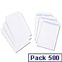 White Box C5 Envelopes Pocket Press Seal 90gsm White Pack 500